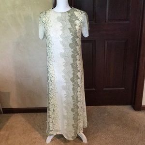 Tommy Bahama Vintage Green Yellow Maxi Dress Sz XS